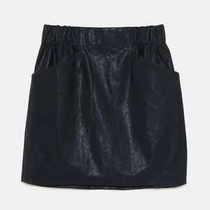 Zara Basics Faux Leather Mini Skirt with Pockets